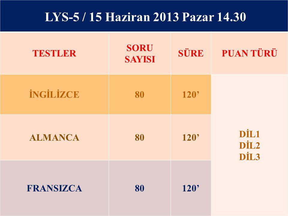 LYS-5 / 15 Haziran 2013 Pazar 14.30 TESTLER SORU SAYISI SÜRE PUAN TÜRÜ