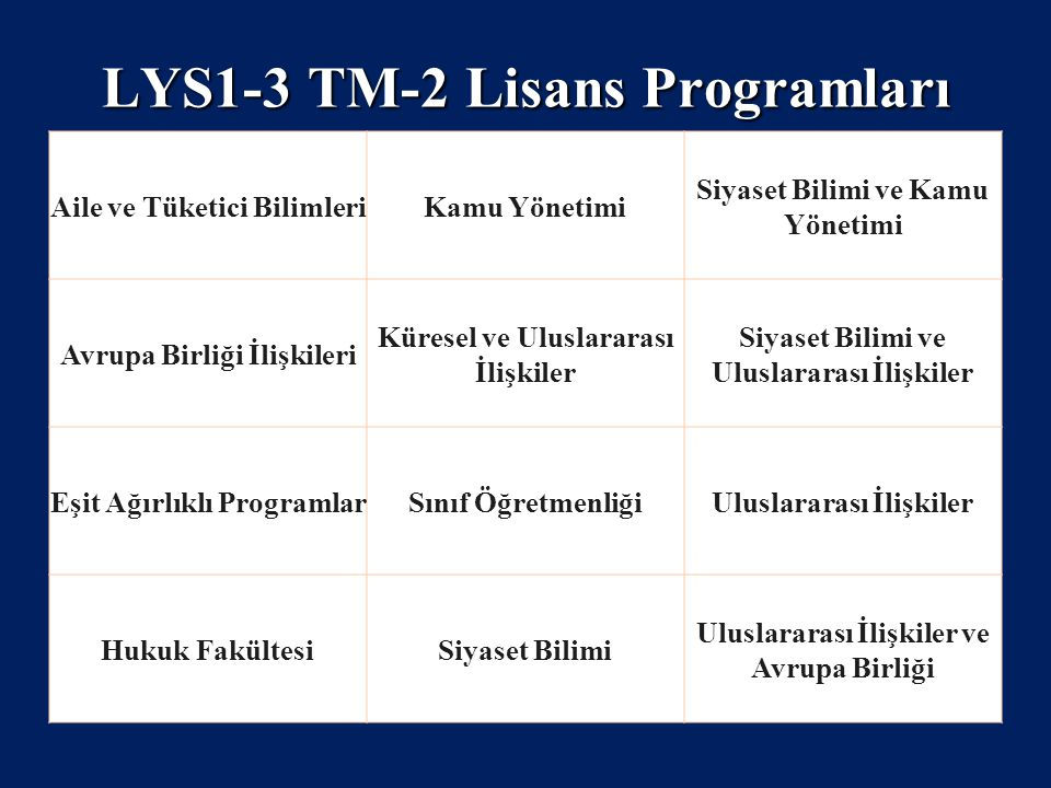 LYS1-3 TM-2 Lisans Programları