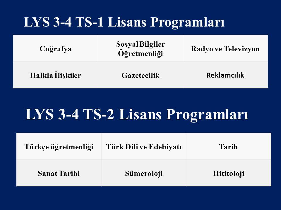 LYS 3-4 TS-2 Lisans Programları
