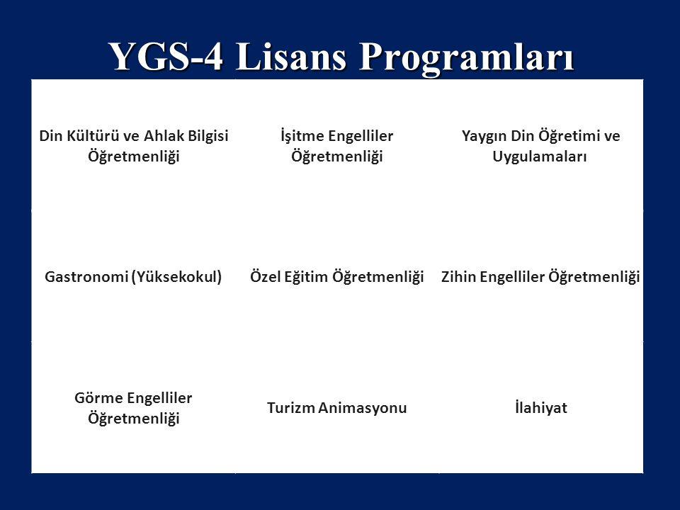 YGS-4 Lisans Programları