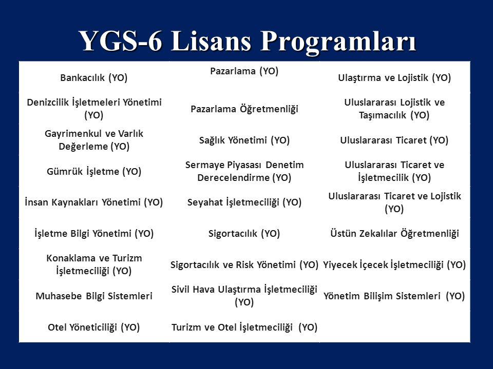YGS-6 Lisans Programları
