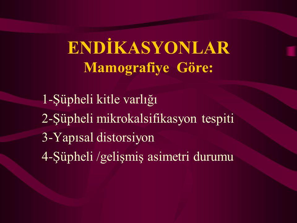 ENDİKASYONLAR Mamografiye Göre: