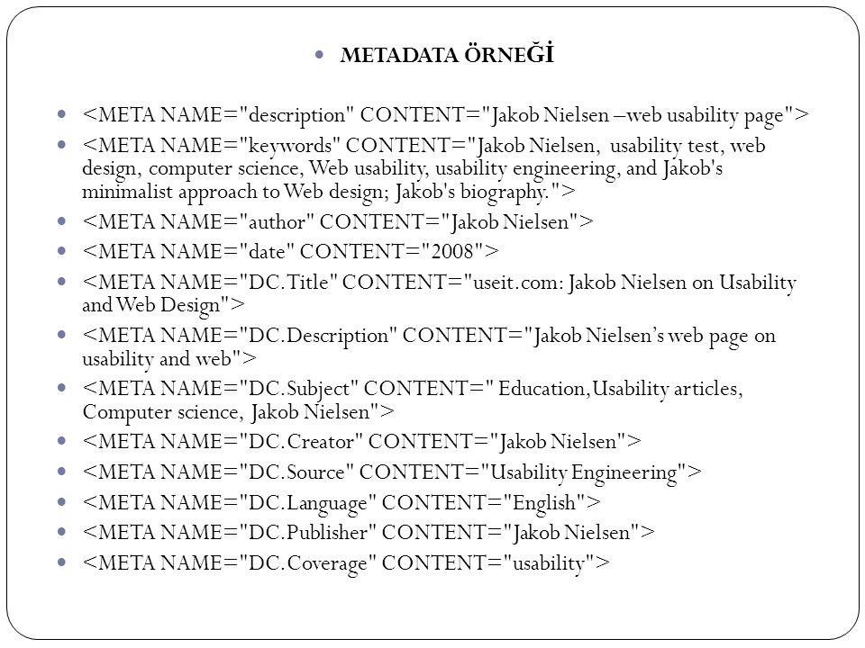 METADATA ÖRNEĞİ <META NAME= description CONTENT= Jakob Nielsen –web usability page >