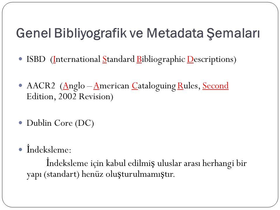 Genel Bibliyografik ve Metadata Şemaları