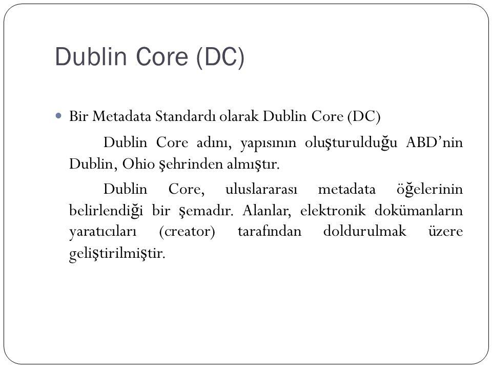 Dublin Core (DC) Bir Metadata Standardı olarak Dublin Core (DC)