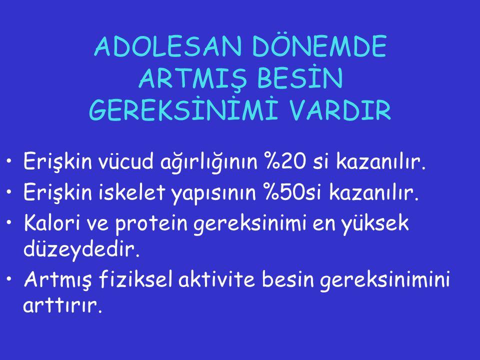 ADOLESAN DÖNEMDE ARTMIŞ BESİN GEREKSİNİMİ VARDIR
