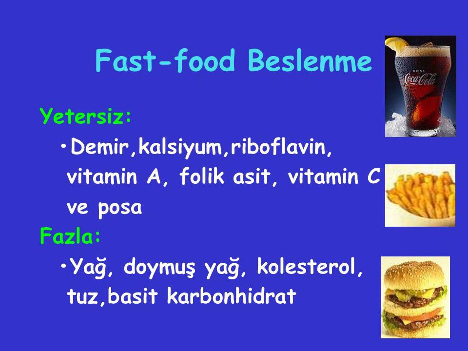 Fast-food Beslenme Yetersiz: •Demir,kalsiyum,riboflavin,