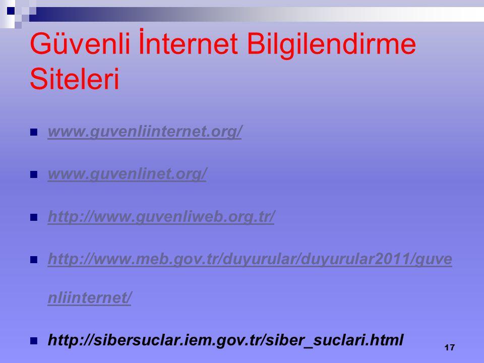 Güvenli İnternet Bilgilendirme Siteleri