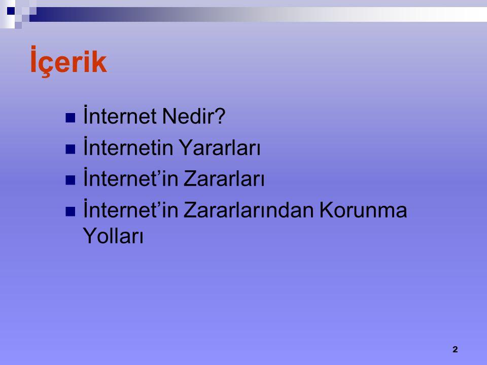 İçerik İnternet Nedir İnternetin Yararları İnternet'in Zararları