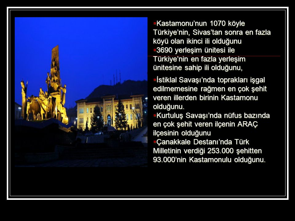 Kastamonu'nun 1070 köyle Türkiye'nin, Sivas'tan sonra en fazla köyü olan ikinci ili olduğunu