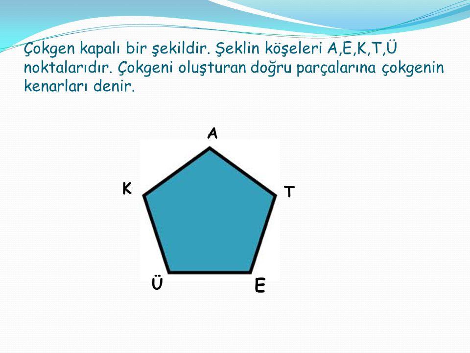Çokgen kapalı bir şekildir. Şeklin köşeleri A,E,K,T,Ü noktalarıdır