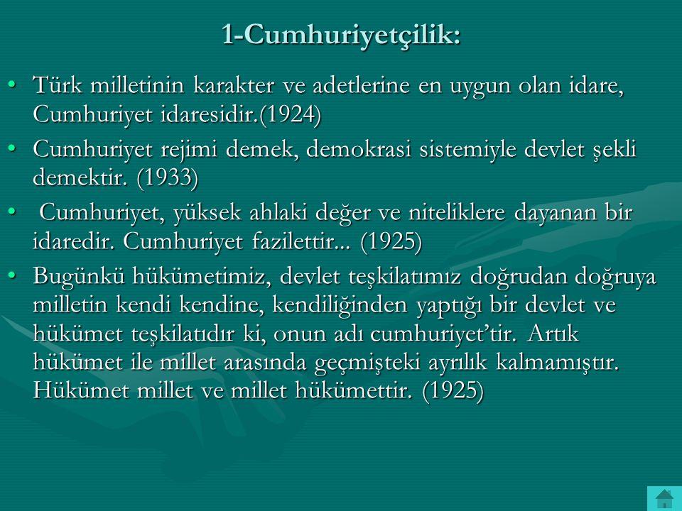 1-Cumhuriyetçilik: Türk milletinin karakter ve adetlerine en uygun olan idare, Cumhuriyet idaresidir.(1924)