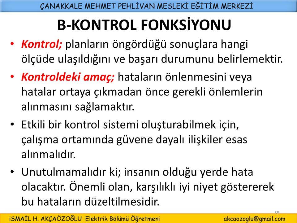 B-KONTROL FONKSİYONU Kontrol; planların öngördüğü sonuçlara hangi ölçüde ulaşıldığını ve başarı durumunu belirlemektir.