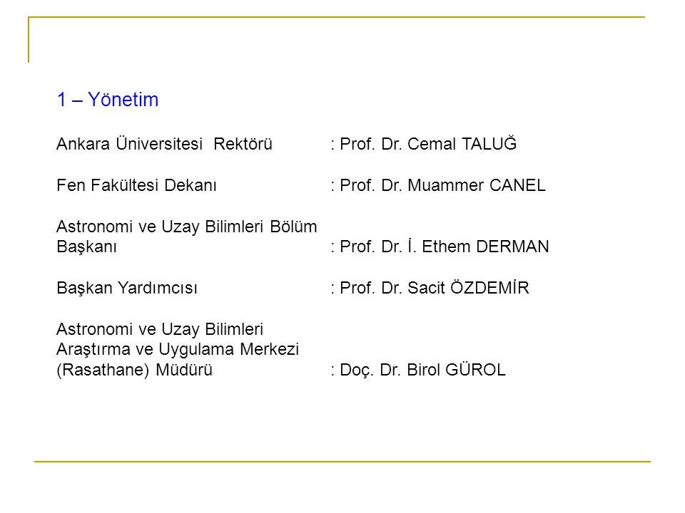 1 – Yönetim Ankara Üniversitesi Rektörü : Prof. Dr. Cemal TALUĞ