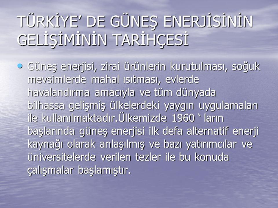 TÜRKİYE' DE GÜNEŞ ENERJİSİNİN GELİŞİMİNİN TARİHÇESİ