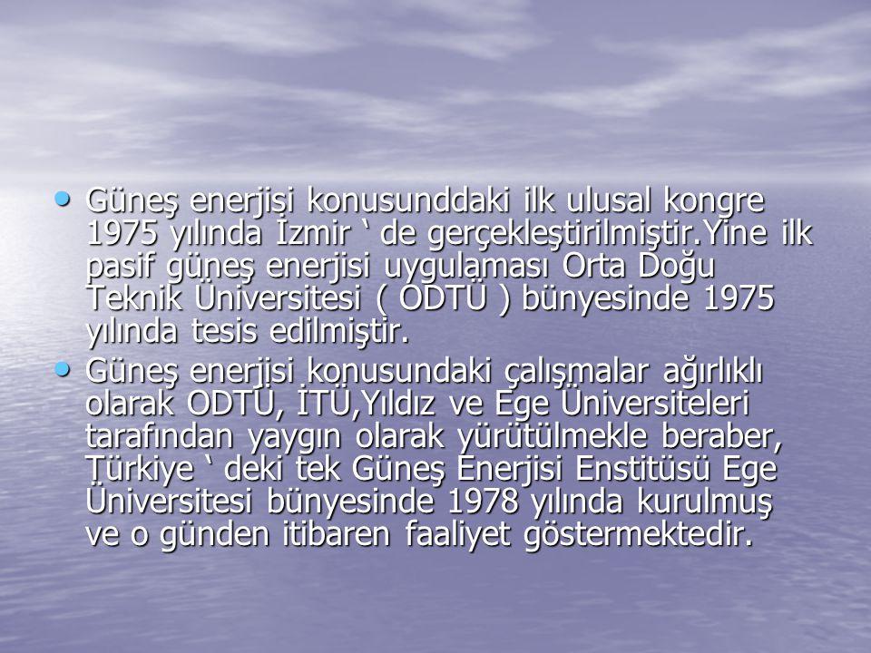 Güneş enerjisi konusunddaki ilk ulusal kongre 1975 yılında İzmir ' de gerçekleştirilmiştir.Yine ilk pasif güneş enerjisi uygulaması Orta Doğu Teknik Üniversitesi ( ODTÜ ) bünyesinde 1975 yılında tesis edilmiştir.
