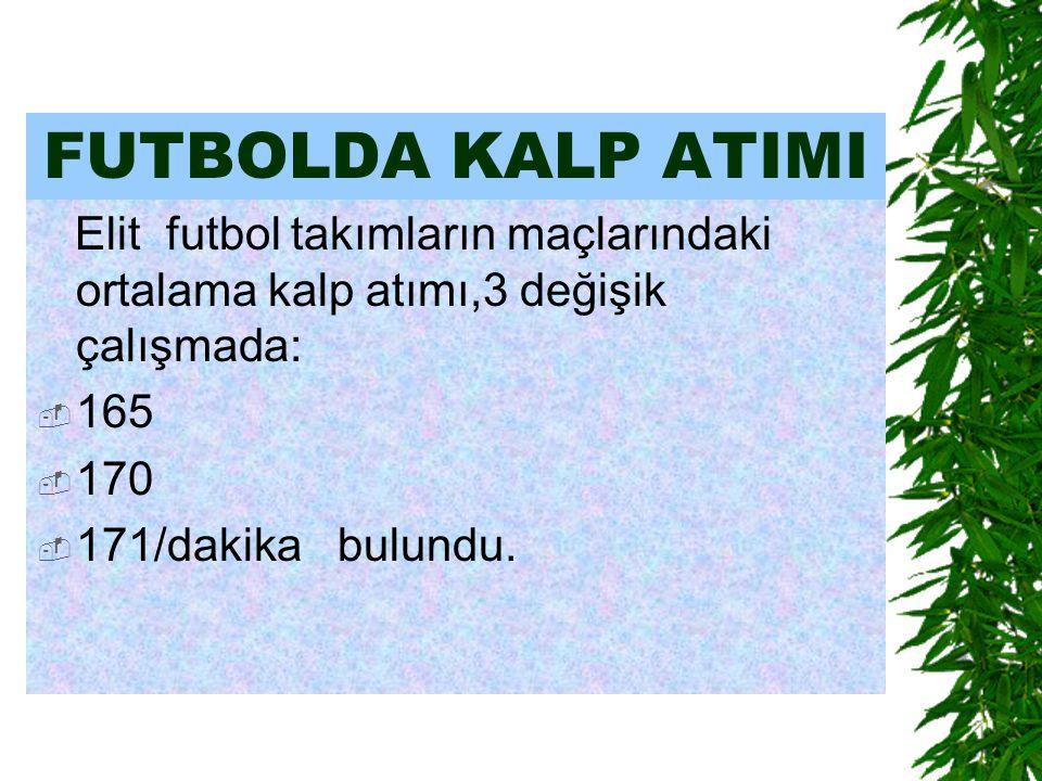 FUTBOLDA KALP ATIMI Elit futbol takımların maçlarındaki ortalama kalp atımı,3 değişik çalışmada: 165.