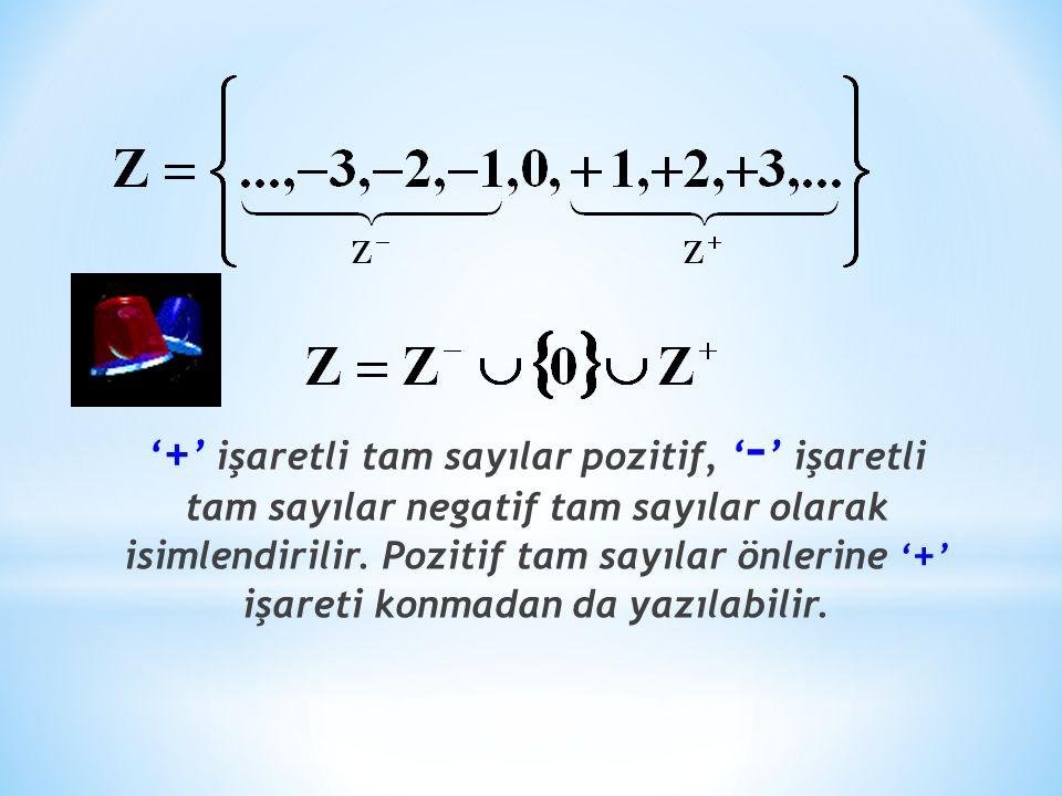 '+' işaretli tam sayılar pozitif, '–' işaretli tam sayılar negatif tam sayılar olarak isimlendirilir.