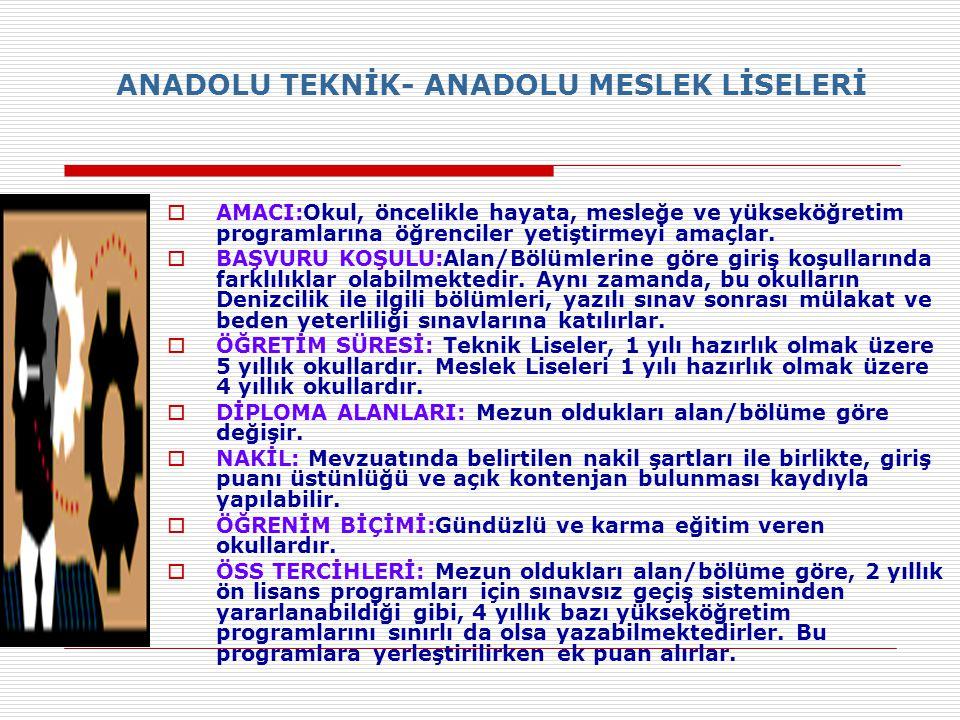ANADOLU TEKNİK- ANADOLU MESLEK LİSELERİ