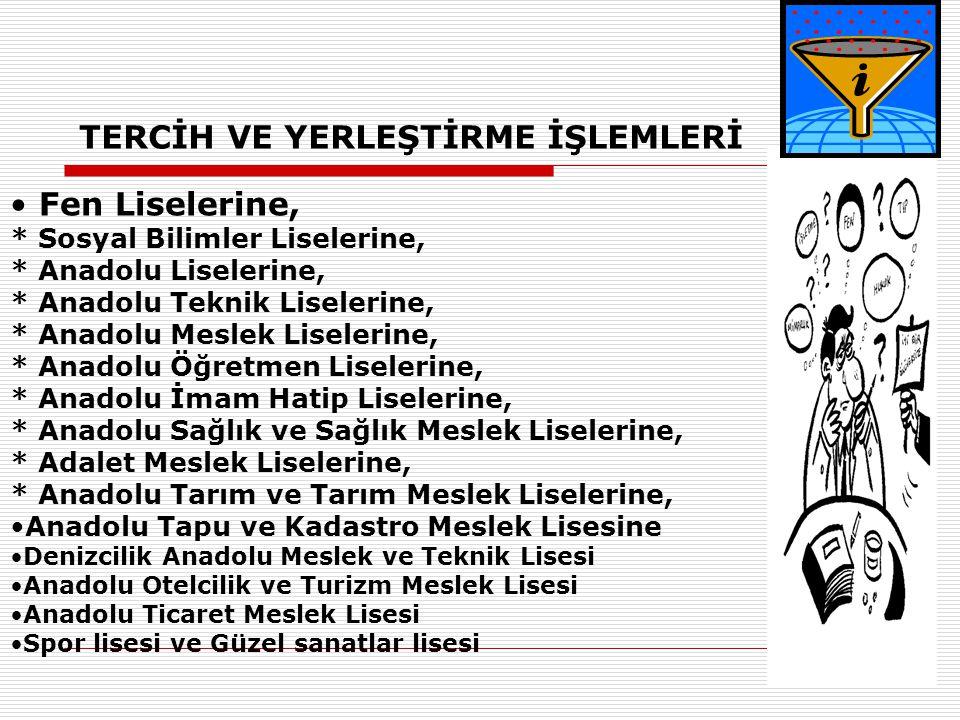 TERCİH VE YERLEŞTİRME İŞLEMLERİ
