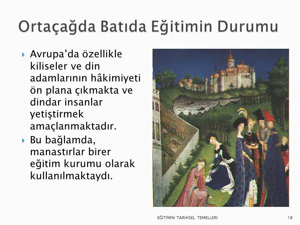 Ortaçağda Batıda Eğitimin Durumu