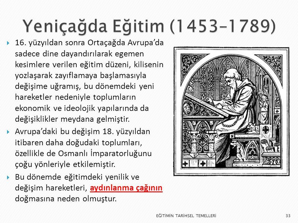 Yeniçağda Eğitim (1453–1789)
