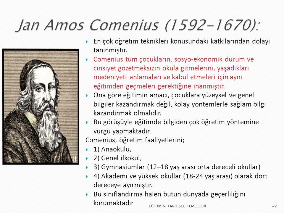 Jan Amos Comenius (1592-1670): En çok öğretim teknikleri konusundaki katkılarından dolayı tanınmıştır.
