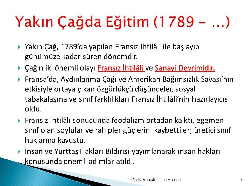 Yakın Çağda Eğitim (1789 - …)