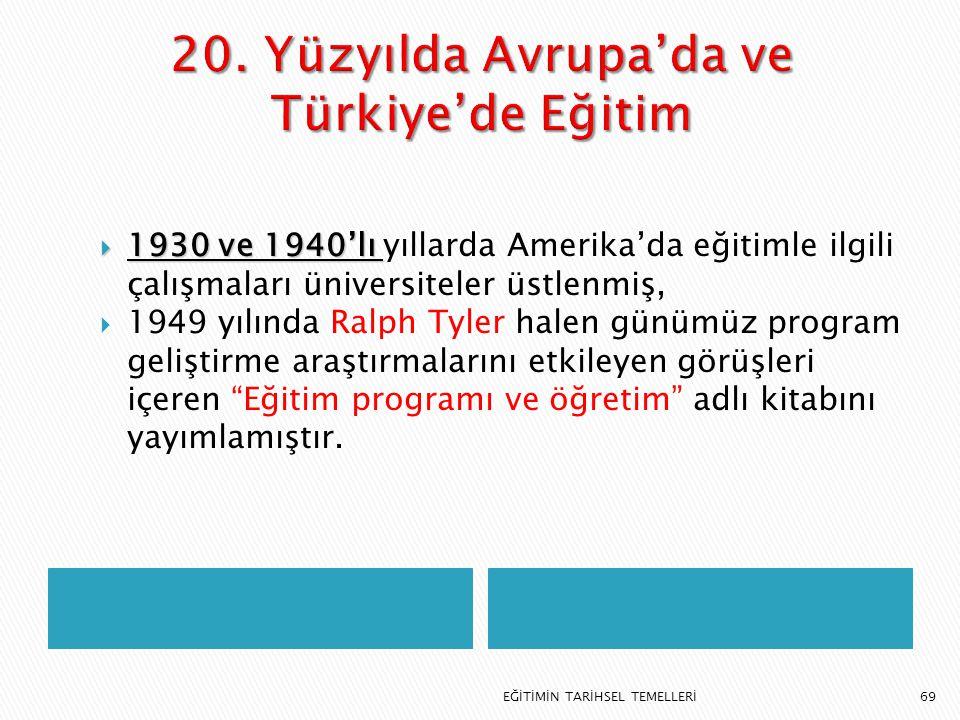 20. Yüzyılda Avrupa'da ve Türkiye'de Eğitim