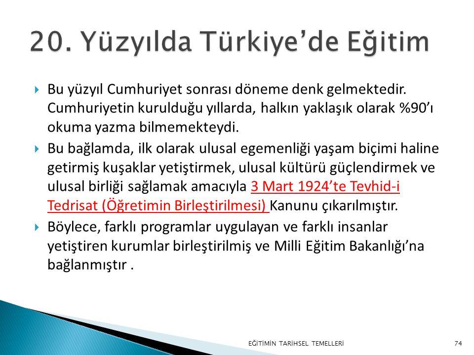 20. Yüzyılda Türkiye'de Eğitim