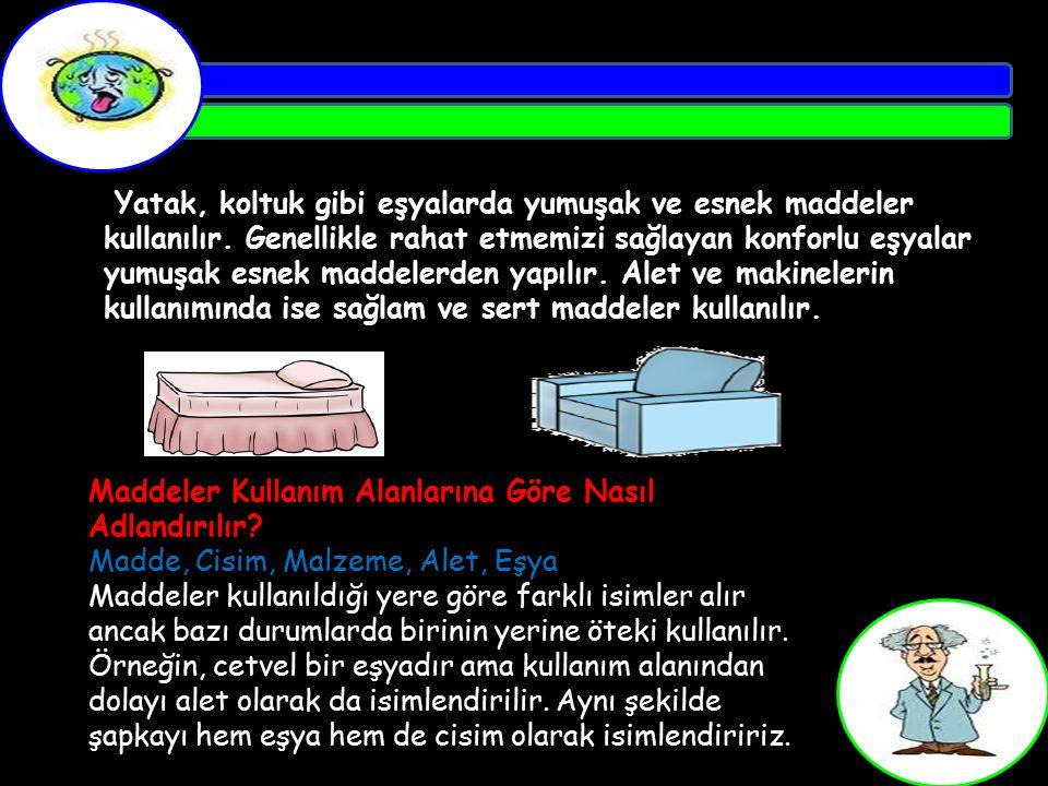 Yatak, koltuk gibi eşyalarda yumuşak ve esnek maddeler kullanılır