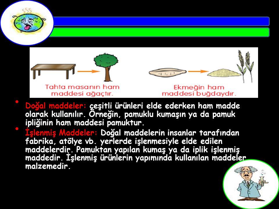 Doğal maddeler: çeşitli ürünleri elde ederken ham madde olarak kullanılır. Örneğin, pamuklu kumaşın ya da pamuk ipliğinin ham maddesi pamuktur.