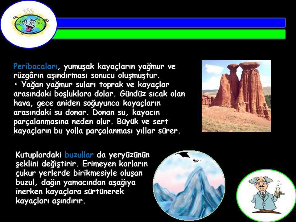 Peribacaları, yumuşak kayaçların yağmur ve rüzgârın aşındırması sonucu oluşmuştur.