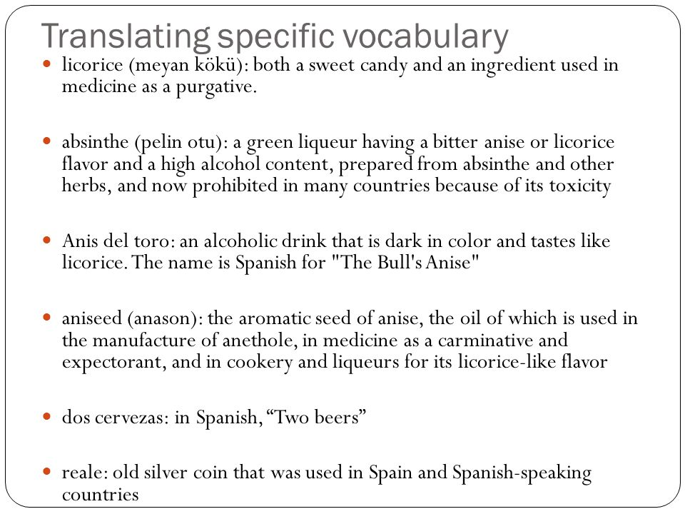 Translating specific vocabulary