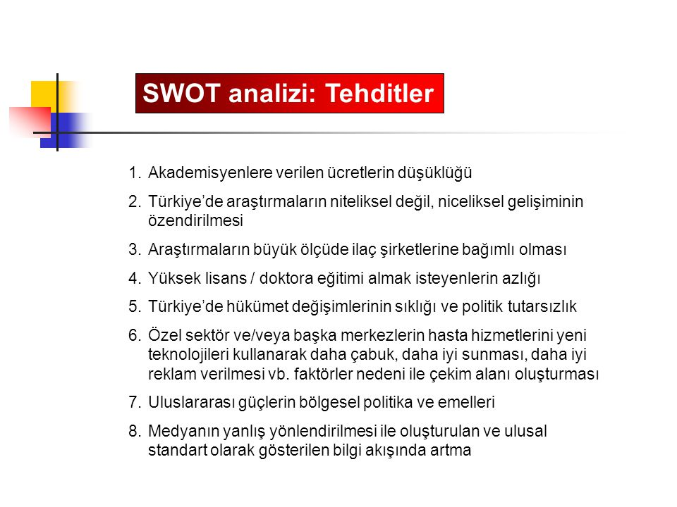 SWOT analizi: Tehditler