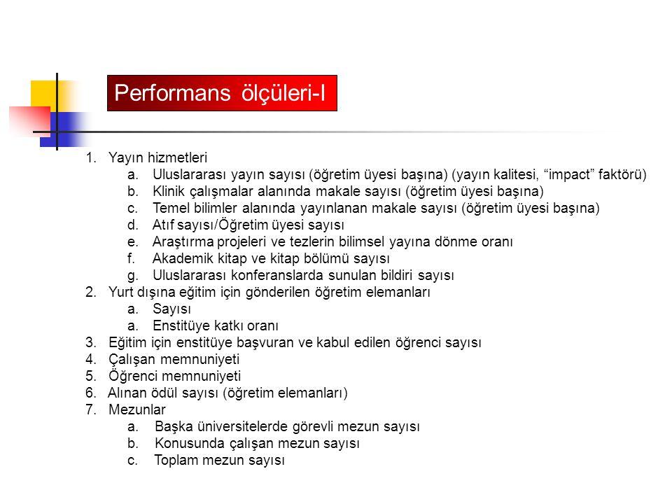 Performans ölçüleri-I