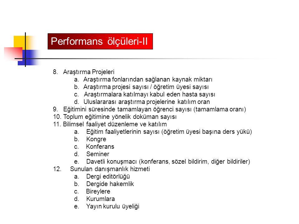 Performans ölçüleri-II