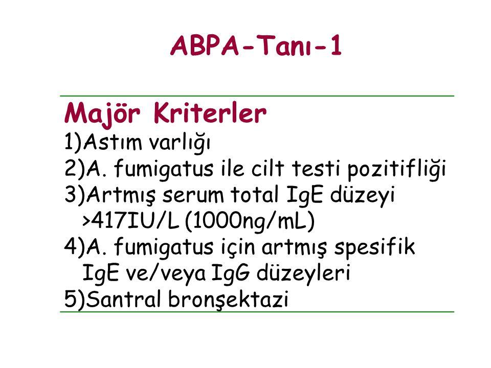 ABPA-Tanı-1 Majör Kriterler Astım varlığı