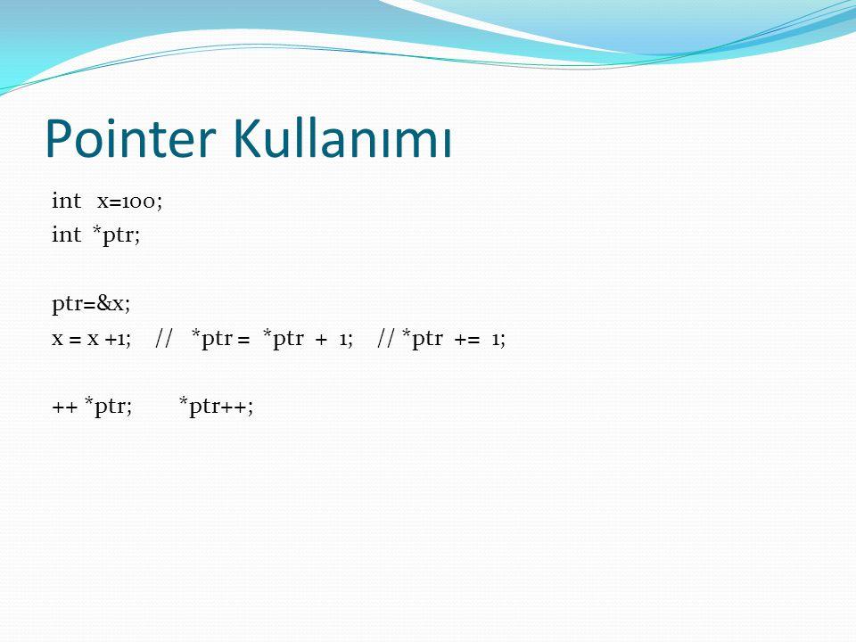 Pointer Kullanımı int x=100; int *ptr; ptr=&x; x = x +1; // *ptr = *ptr + 1; // *ptr += 1; ++ *ptr; *ptr++;