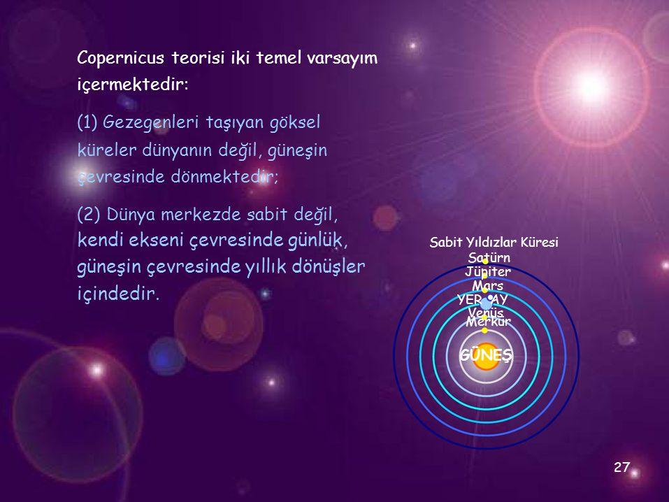 Copernicus teorisi iki temel varsayım içermektedir: