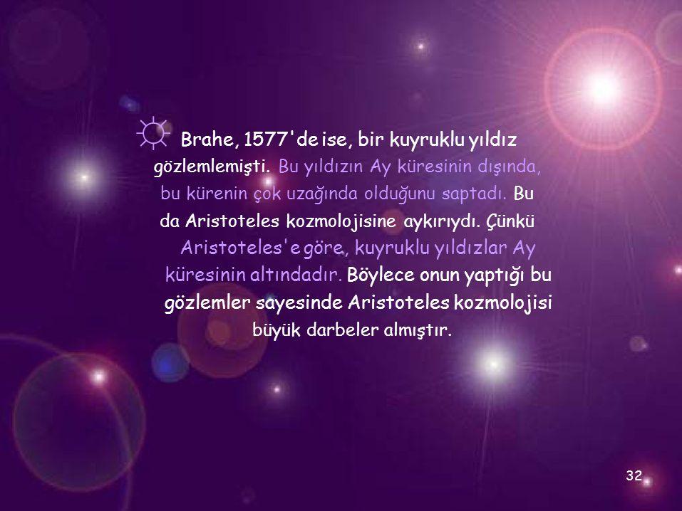 ☼ Brahe, 1577 de ise, bir kuyruklu yıldız