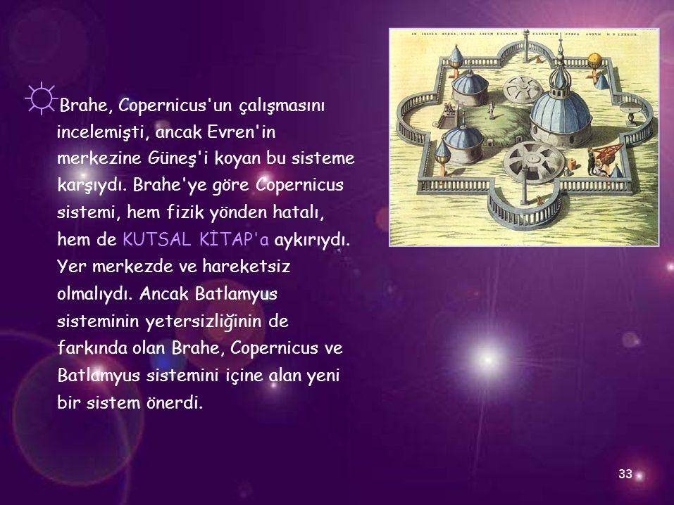 ☼Brahe, Copernicus un çalışmasını
