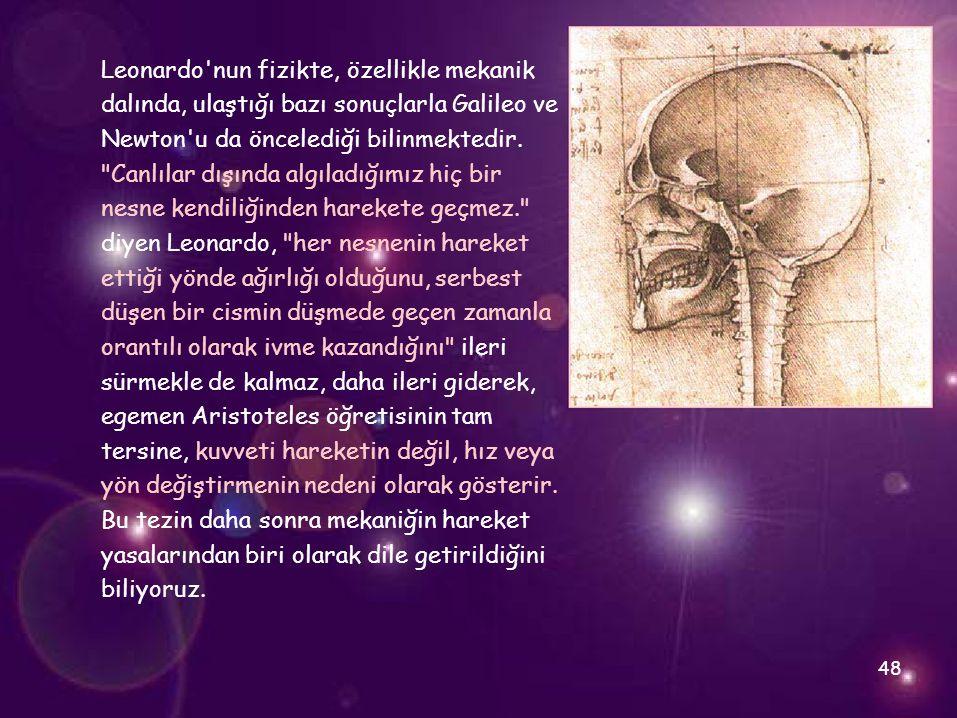 Leonardo nun fizikte, özellikle mekanik