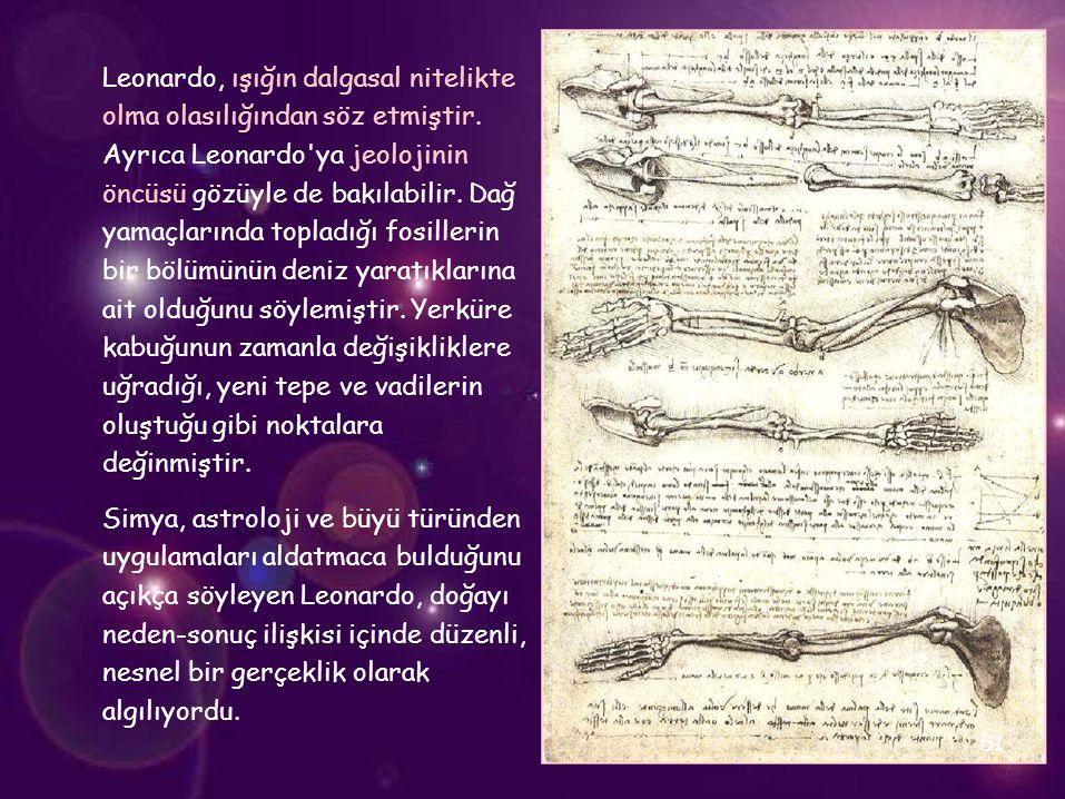 Leonardo, ışığın dalgasal nitelikte olma olasılığından söz etmiştir.