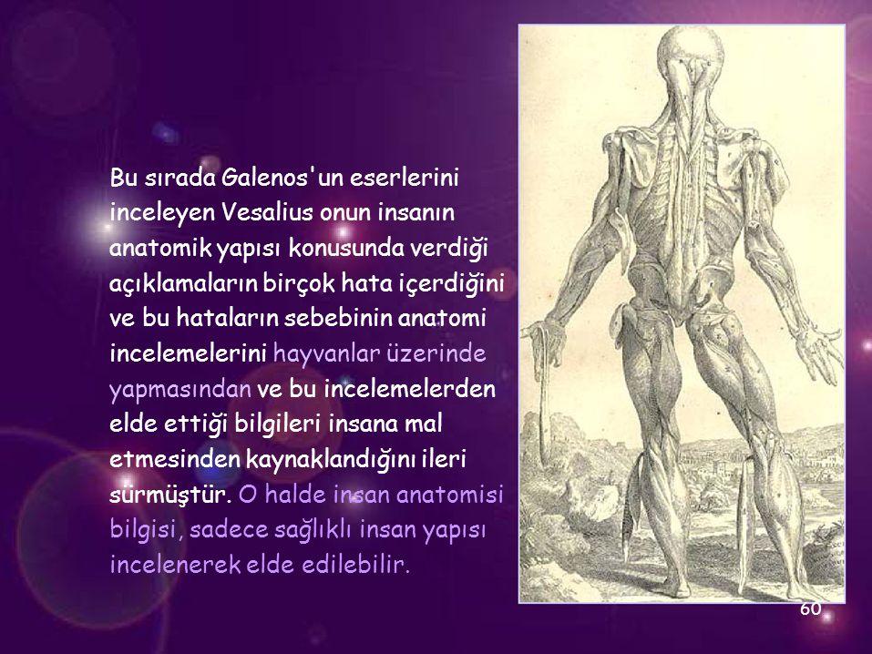 Bu sırada Galenos un eserlerini inceleyen Vesalius onun insanın