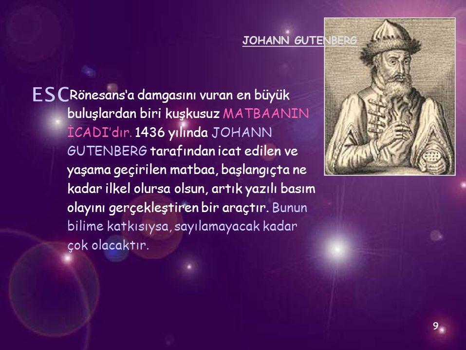 ␛ buluşlardan biri kuşkusuz MATBAANIN İCADI'dır. 1436 yılında JOHANN