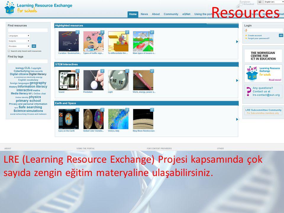 Resources LRE (Learning Resource Exchange) Projesi kapsamında çok sayıda zengin eğitim materyaline ulaşabilirsiniz.