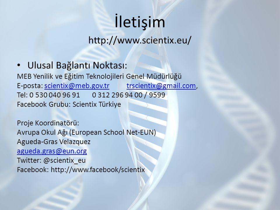 İletişim http://www.scientix.eu/ Ulusal Bağlantı Noktası: