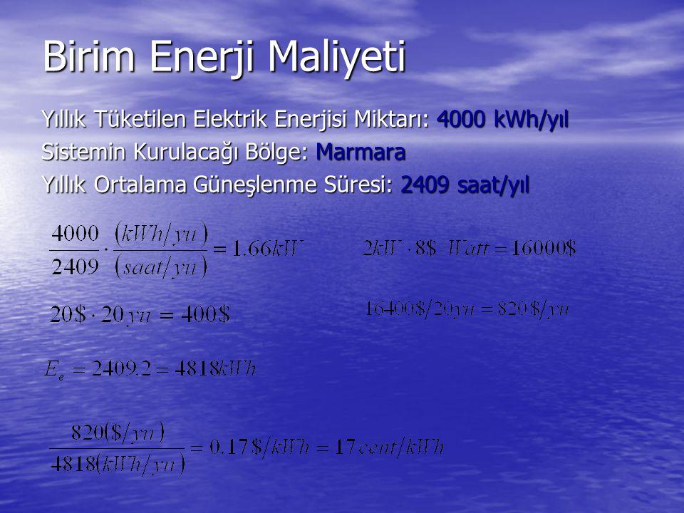 Birim Enerji Maliyeti Yıllık Tüketilen Elektrik Enerjisi Miktarı: 4000 kWh/yıl. Sistemin Kurulacağı Bölge: Marmara.