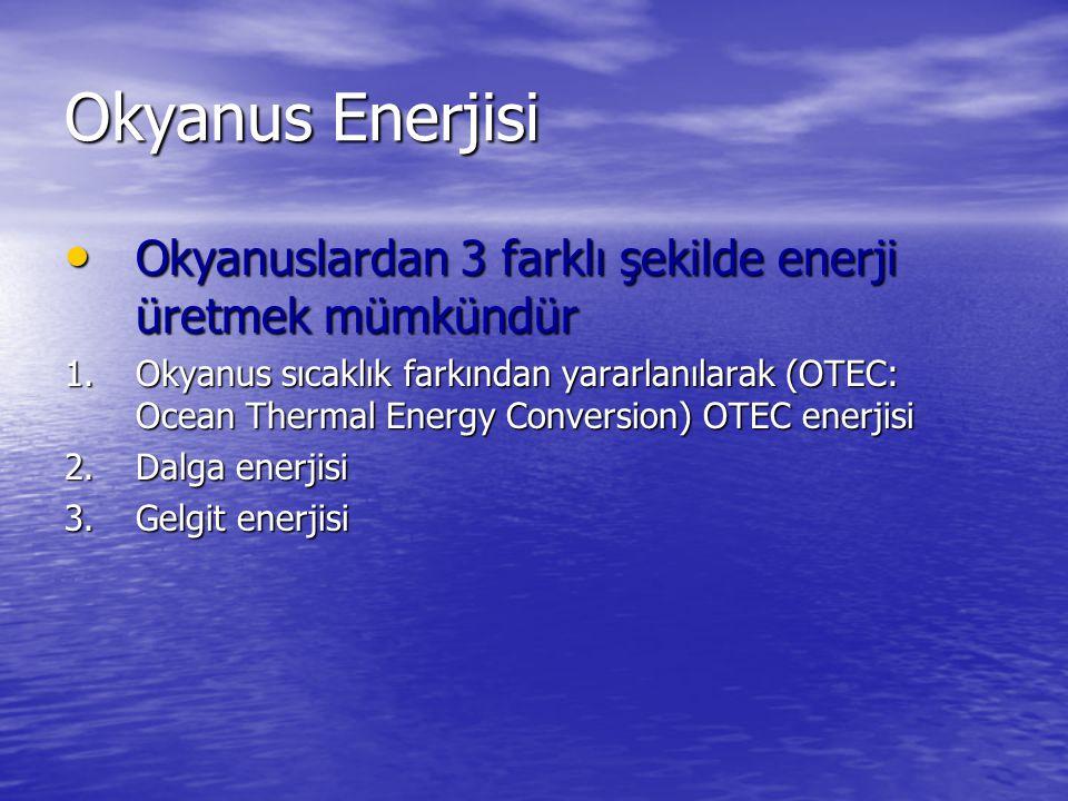 Okyanus Enerjisi Okyanuslardan 3 farklı şekilde enerji üretmek mümkündür.